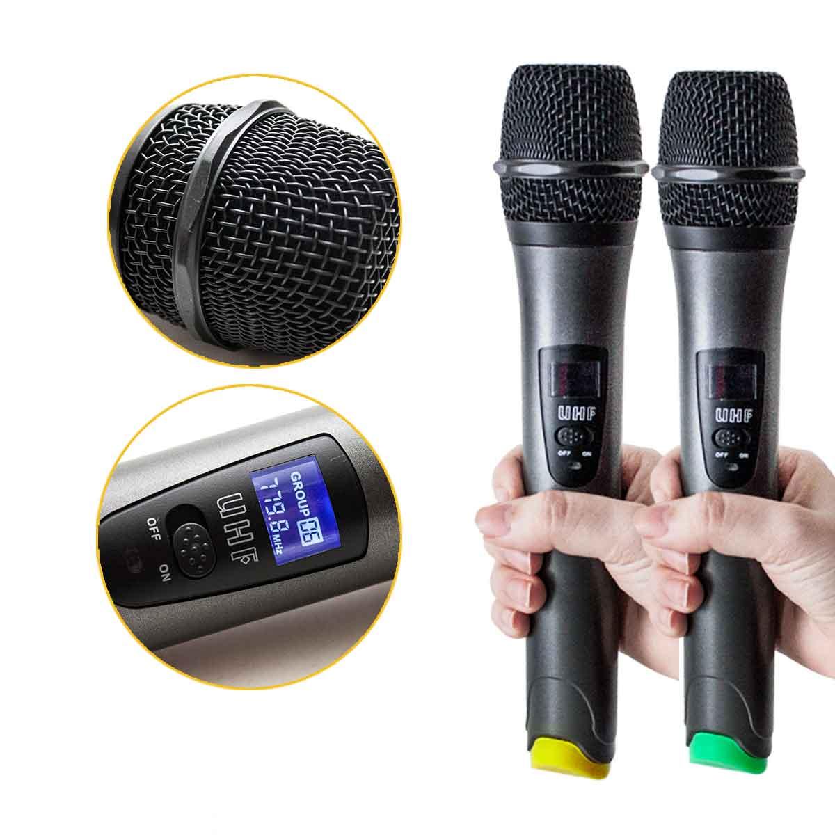 Microfone Sem Fio Duplo Wireless Uhf Digital Bivolt 50mt