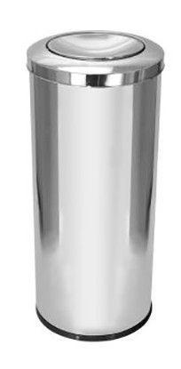 Lixeira em Aço Inox 30x70cm com Tampa Meia Esfera