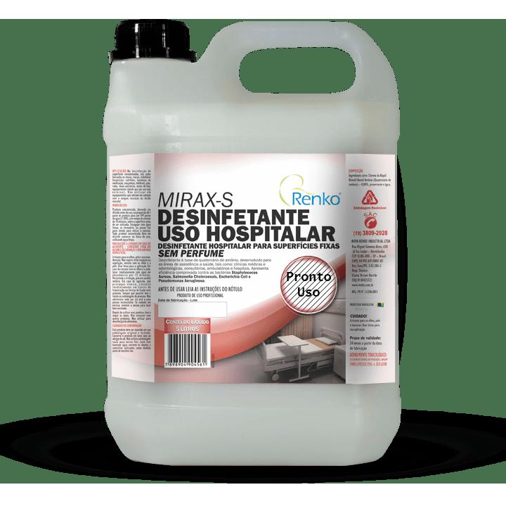 Desinfetante uso hospitalar para superficies fixas Mirax-s Pronto Uso 5l Renko