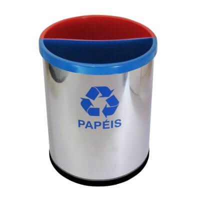 Lixeira para Coleta Seletiva em Aço Inox com 2 Divisórias Plastica