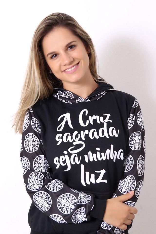 a9a648506 Moletom Feminino São Bento Canguru Flanelado Preto Touca Religioso Fé -  Camisetas Templo Vivo