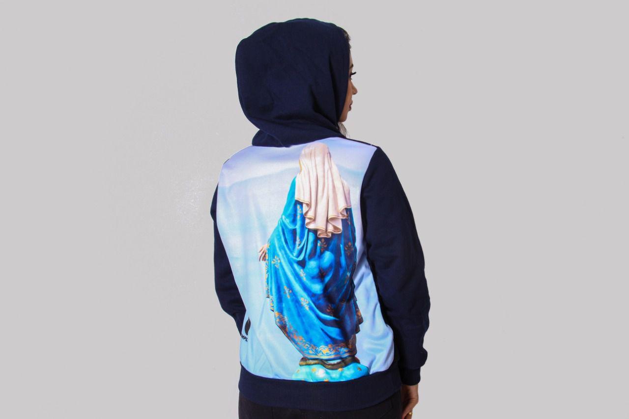 93006c9e51 Blusa de Frio Feminina Nossa Senhora das Graças Estampado Flanelado Touca -  Camisetas Templo Vivo