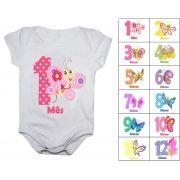 Body de bebê mesversario borboletas - Kit 12 bodies