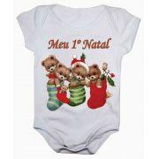 Body de Bebê Meu Primeiro Natal Ursinhos