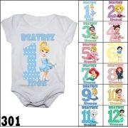 Bodys mesversario personalizados meninas - kit c/ 12