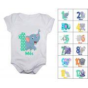Kit 12 bodies mesversario elefantinhos body de bebê