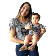 T-shirt adulta e infantil bordada coruja
