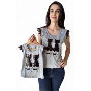 T-shirt adulta e infantil gato paetê