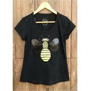 T-shirt adulta feminina paetê abelha