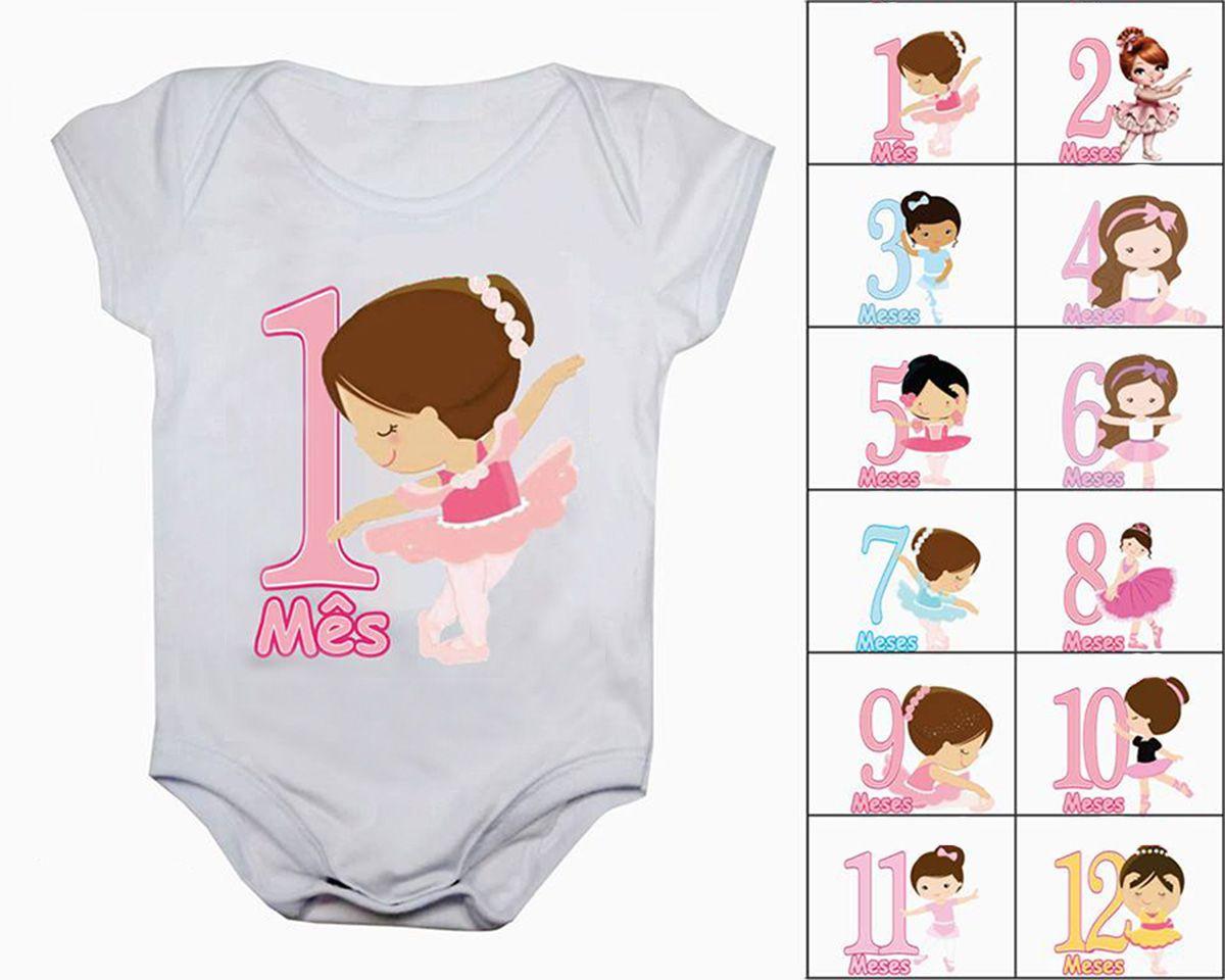 Body de bebê mesversario bailarinas Kit com 12 bodies