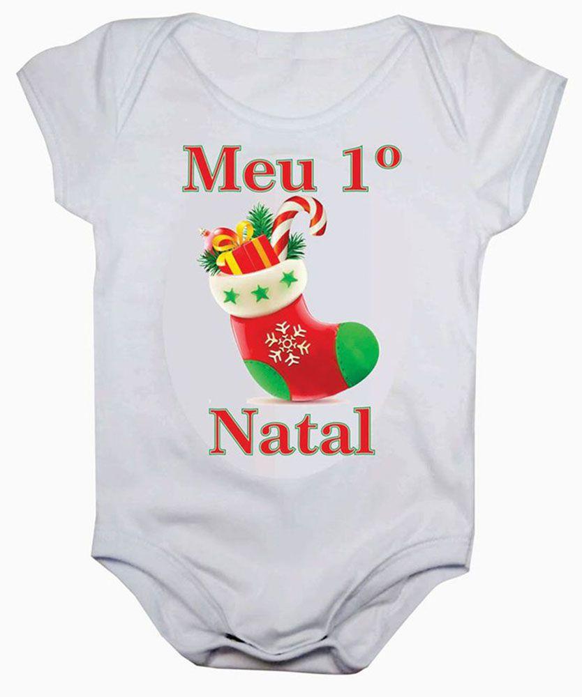 Body de Bebê Meu Primeiro Natal Estampa Meia