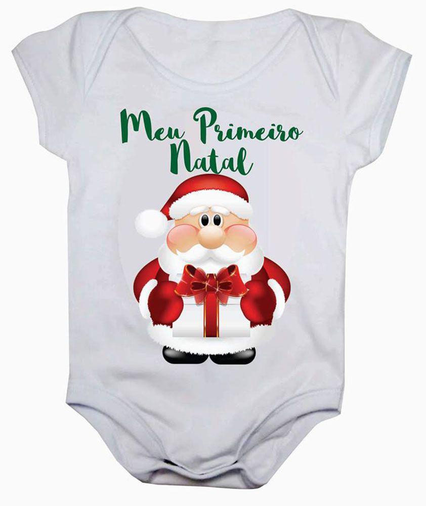 Body de Bebê Meu Primeiro Natal Papai Noel