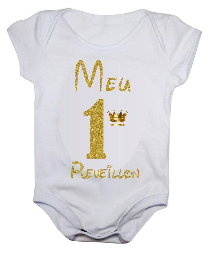 Body de bebê meu primeiro reveillon coroa