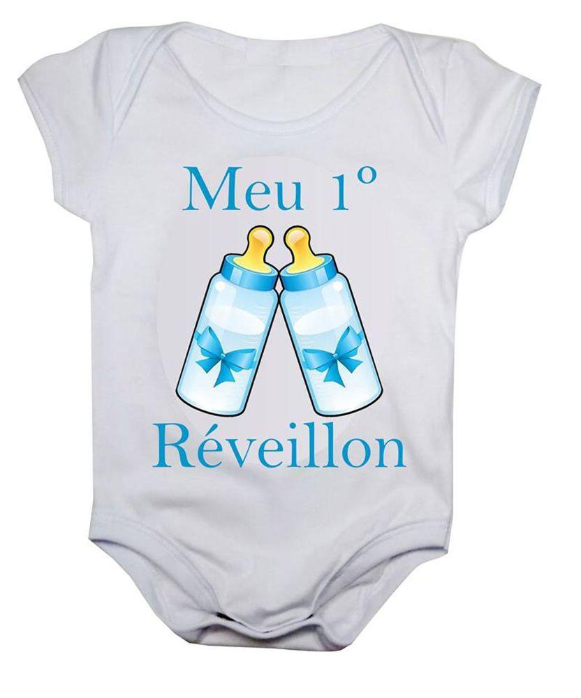 Body de bebê meu primeiro reveillon mamadeiras