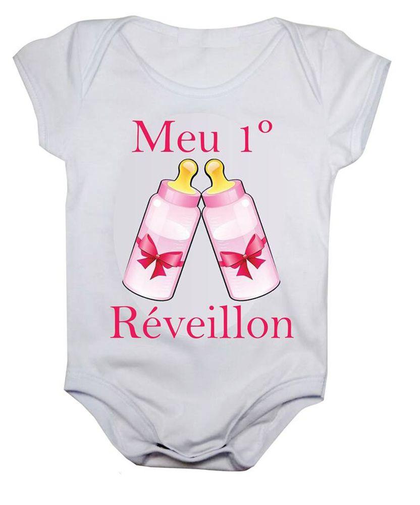 Body de bebê meu primeiro reveillon mamadeiras rosas