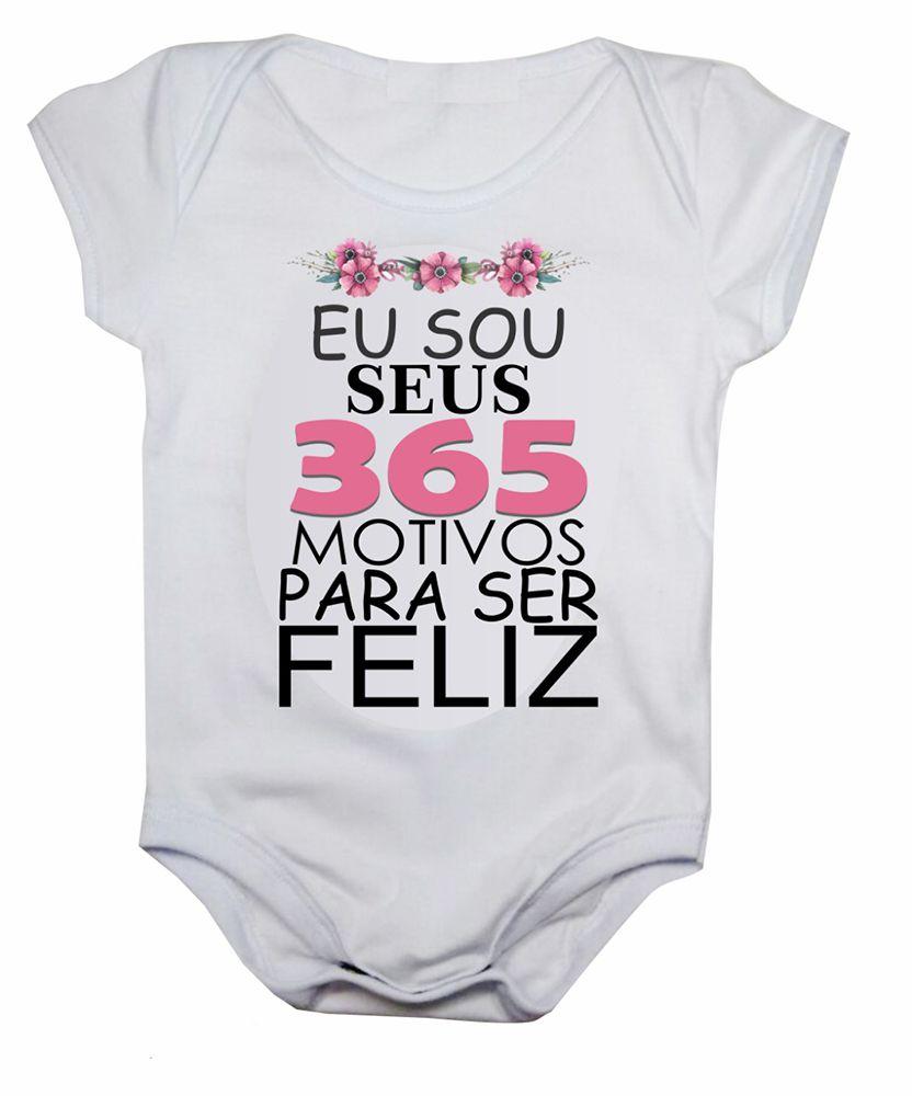 Body de bebê motivos para ser feliz menina