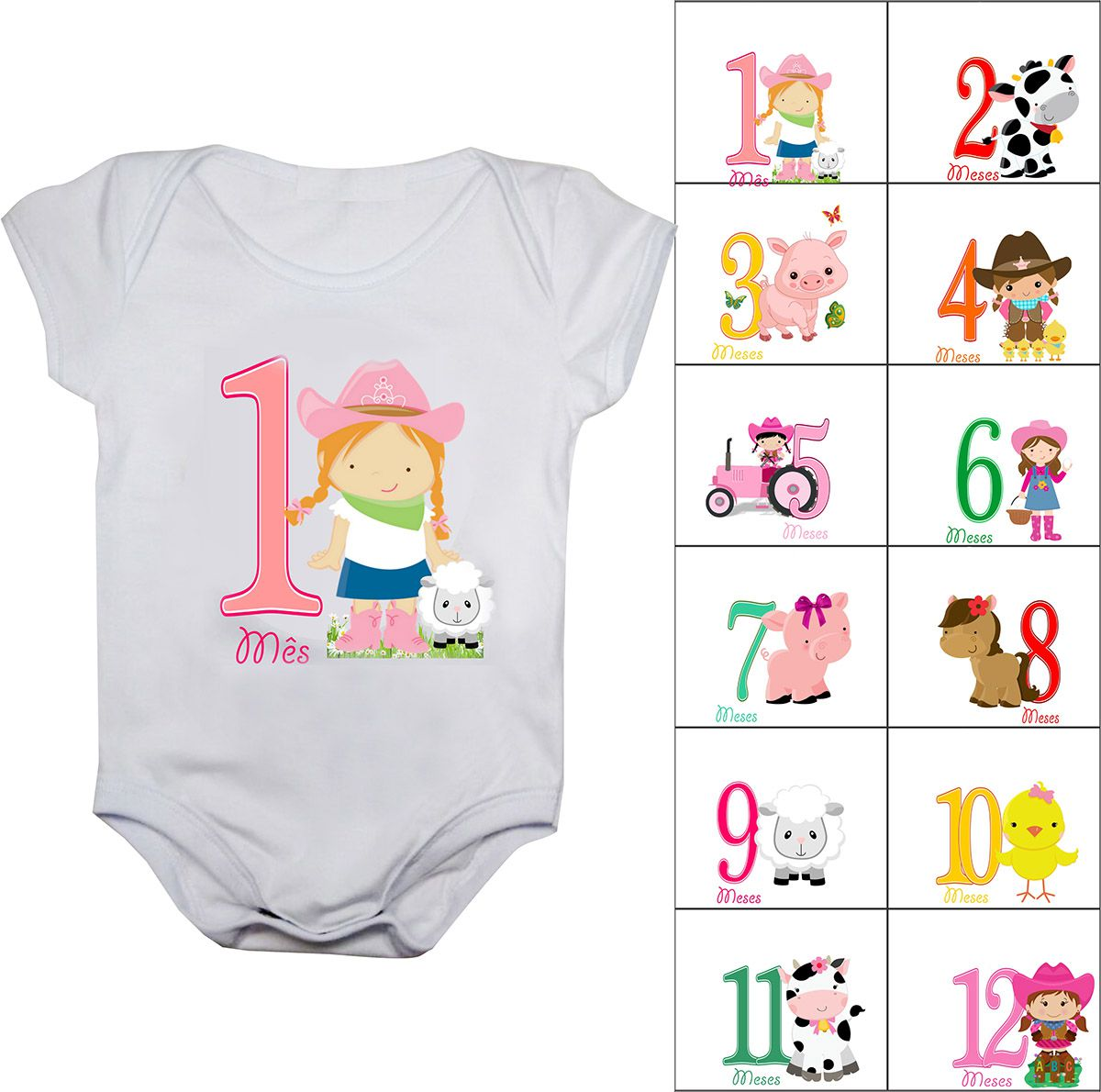 Body mesversario fazendinha Kit 12 bodies de bebê