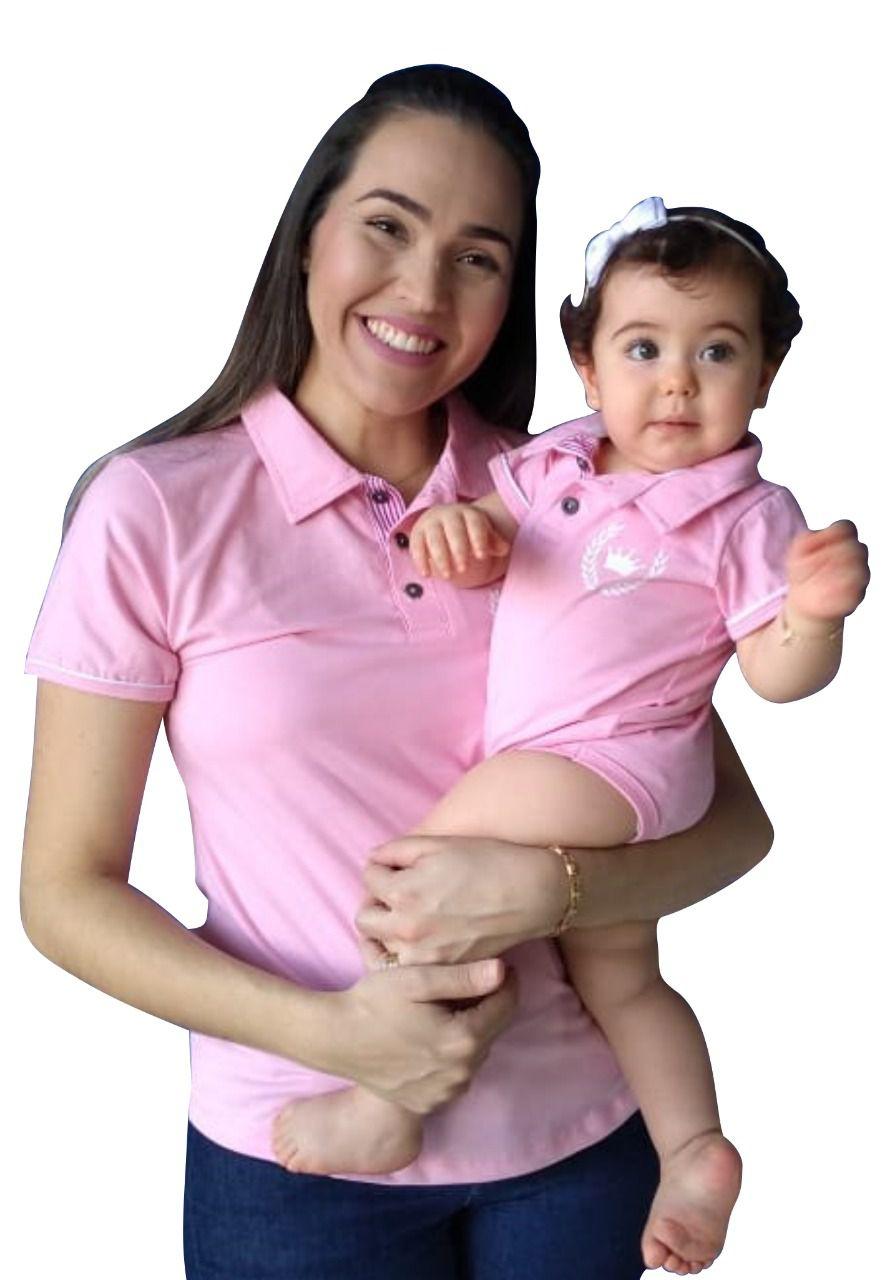 Polo adulta feminina e body de bebê