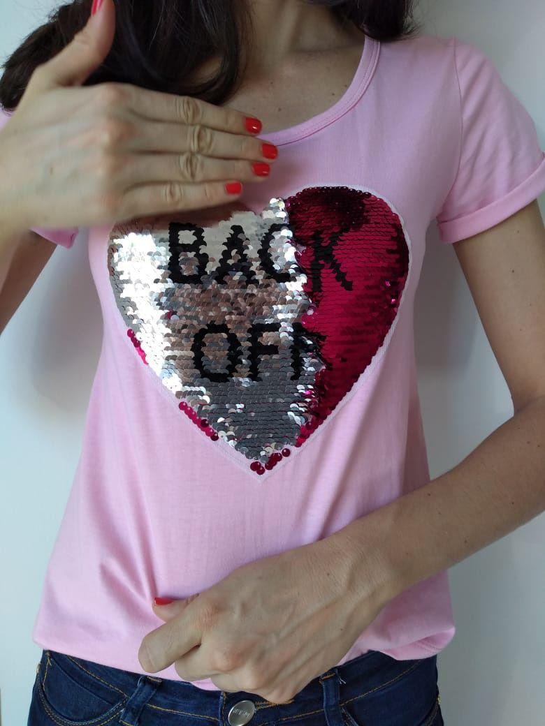 T-shirt adulta e infantil feminina coração paetê
