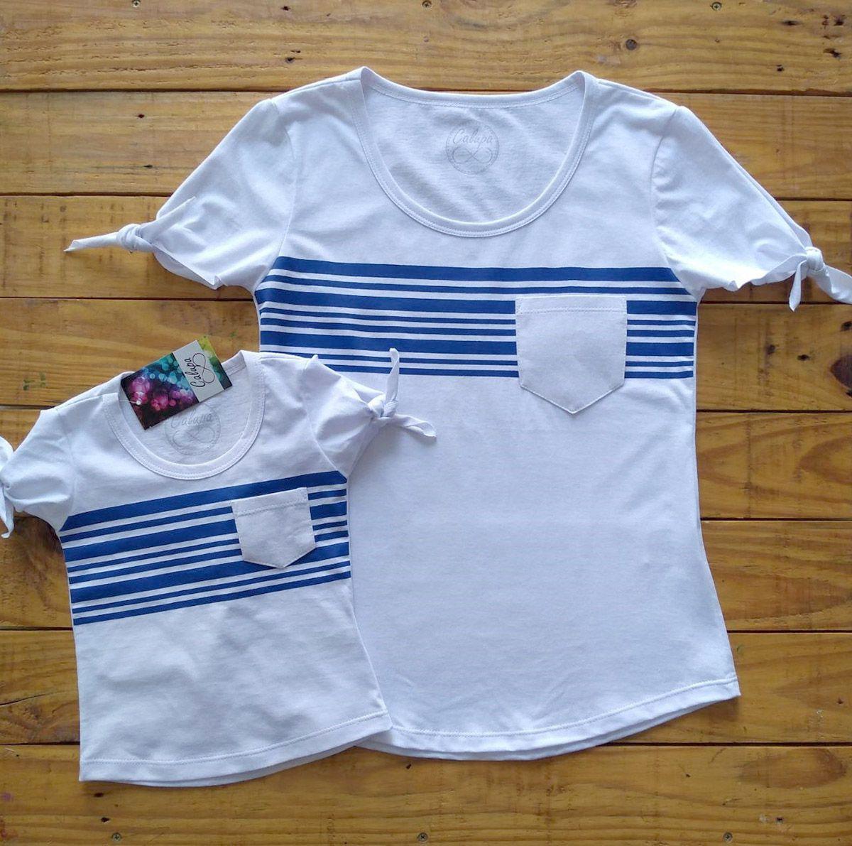 T-shirt adulta e infantil manga de nozinho listrada