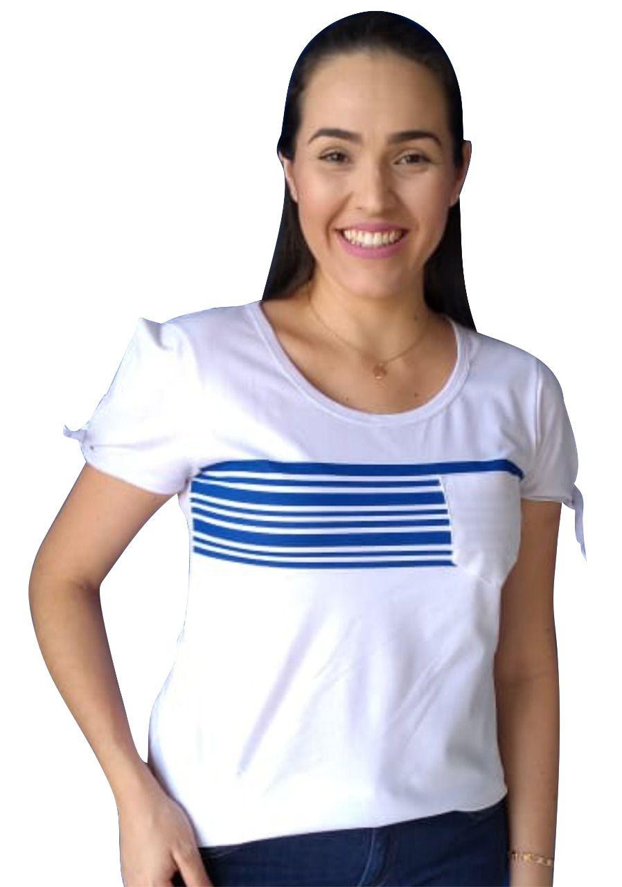 T-shirt adulta fem listrada manga de nozinho