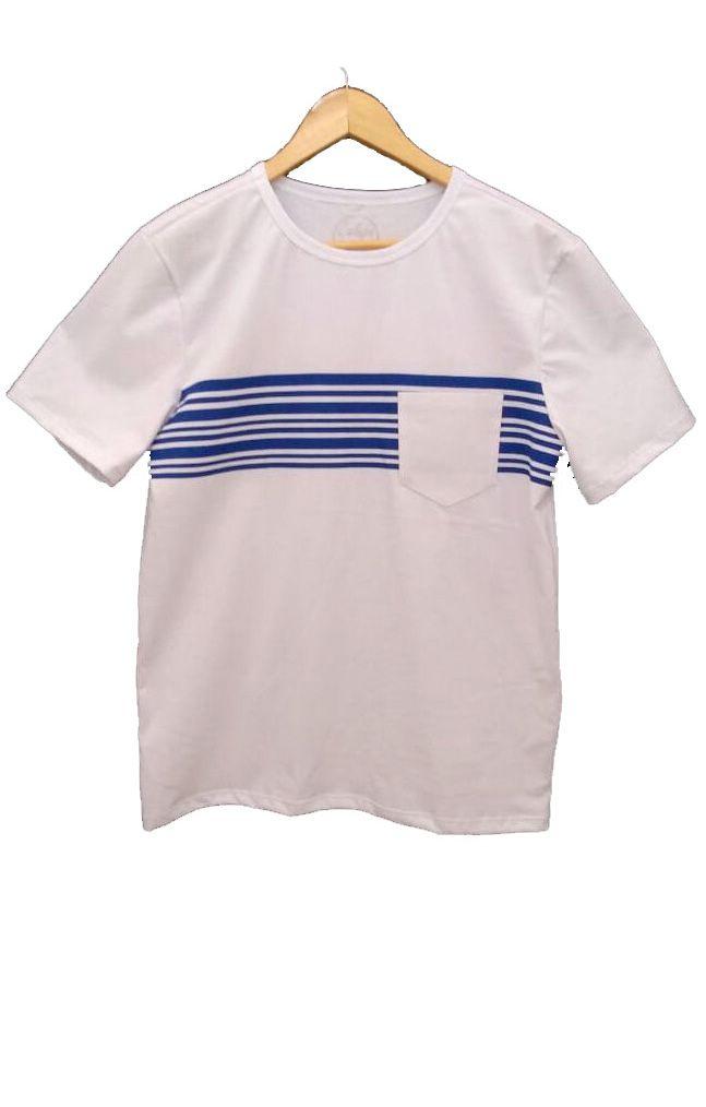 T-shirt adulta masculina com bolso listrada