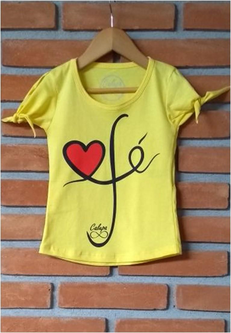 T-shirt infantil fem fé manga de nozinho