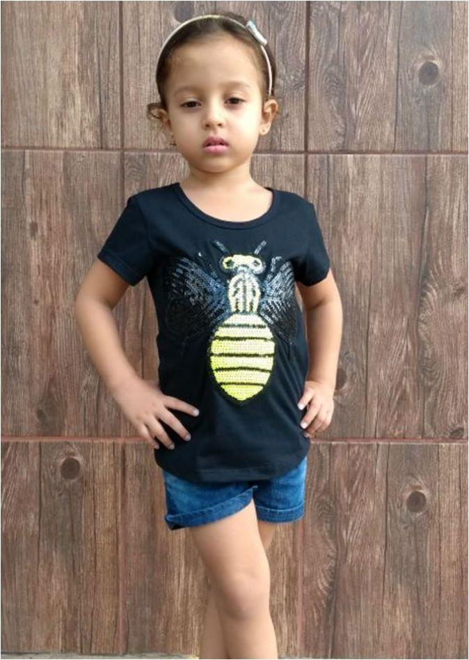 T-shirt infantil feminina paetê abelha