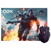 Combo Stage Mouse e Mousepad Oex Led 7 Cores 2400DPI - MC101