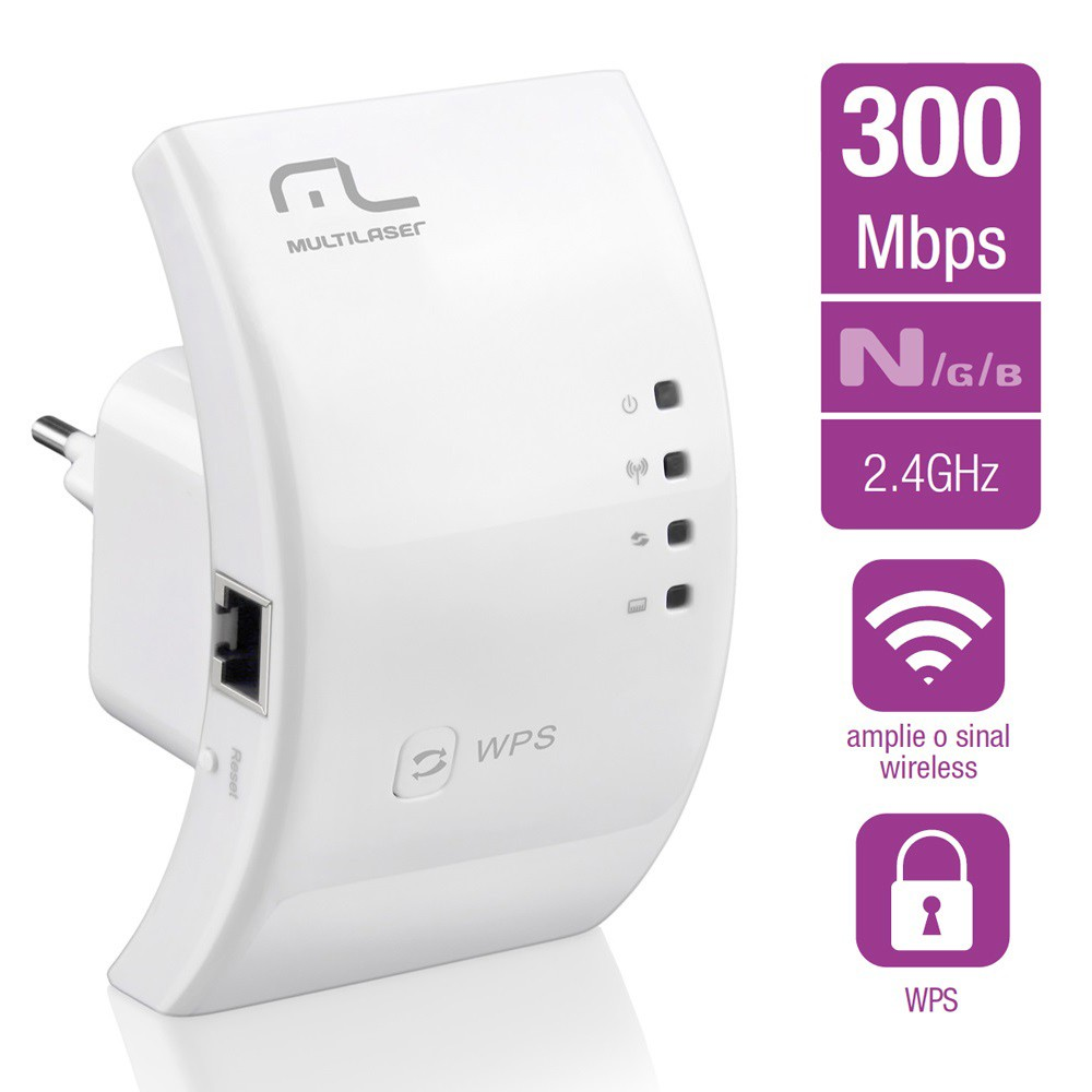 Roteador Repetidor Multilaser 300Mbps WPS - RE051