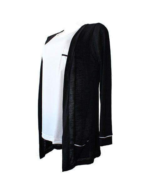 Cardigan básico preto
