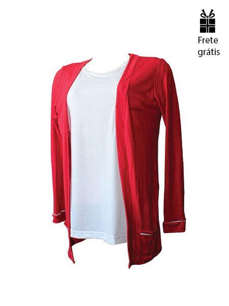Cardigan básico vermelho