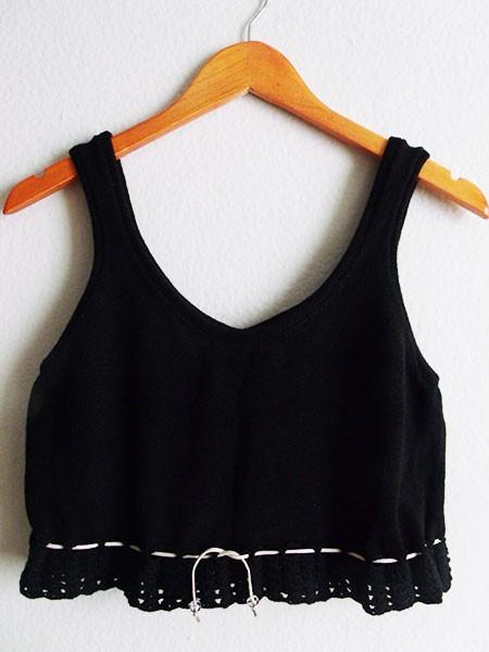 Cropped tricô preto
