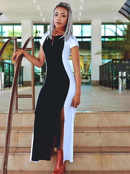 Vestido longo P&B