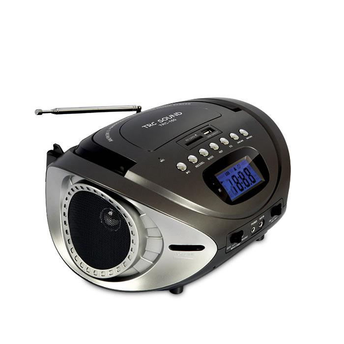 BOOMBOX COM RÁDIO AM-FM, RELÓGIO DIGITAL, BATERIA RECARREGÁVEL E ENTRADAS USB-SD