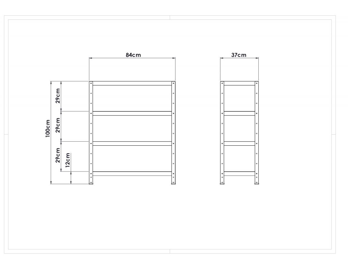 Estante Metálica Colorida - Comprimento: 84cm / Altura: 100cm / Profundidade: 37cm