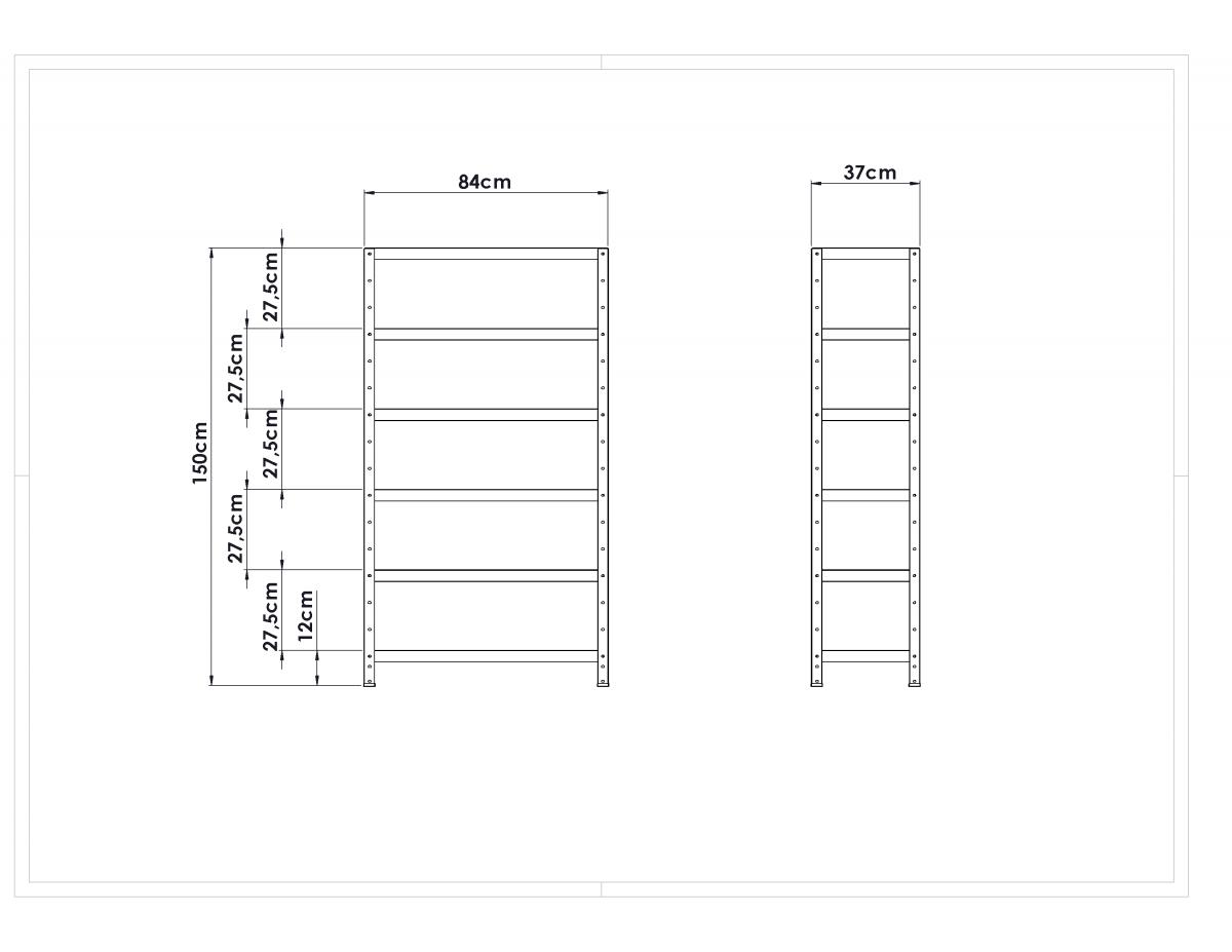 Estante Metálica Colorida - Comprimento: 84cm / Altura: 150cm / Profundidade: 37cm