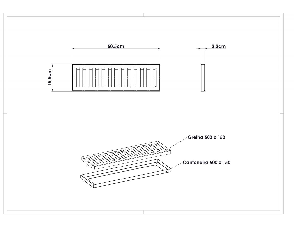 Ralo Linear de Inox 50cm - Grelha Para Pisos - Suporta Tráfego até 3000kg