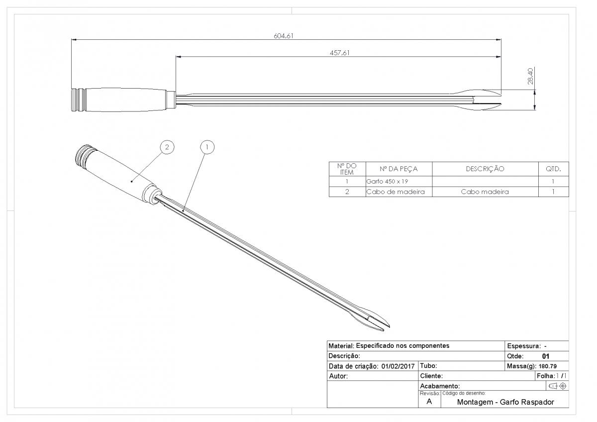 Garfo Raspador de Inox Para Grelha Tubular - 60cm