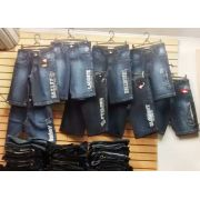 Kit C/ 3 Bermudas Jeans Bordada Diversas Marcas