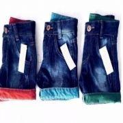 Bermuda Jeans Infantil Atacado Revenda Kit C/ 3 Shorts Top