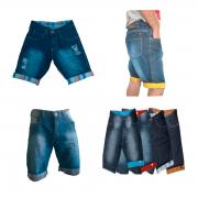 Kit C/ 3 Bermudas Jeans Masculina Diversas Marcas