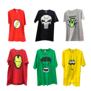 KIT 3 CAMISETAS MASCULINA PERSONAGENS SUPER HEROIS