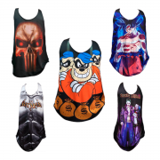 KIT 50 REGATAS MASCULINA SUPER HEROIS DIVERSAS ESTAMPAS