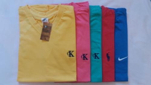 Kit C/ 10 Camisetas Gola V Masculinas Diversas Marcas