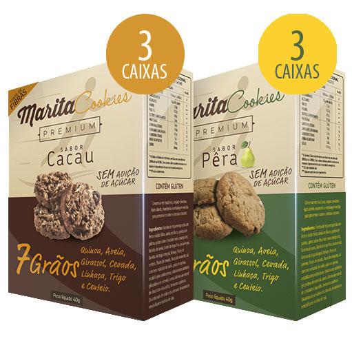Marita Cookies Premium - 40g - Cacau (3 Caixas) + Pera (3 Caixas)  - LA Nature