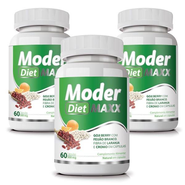 Moder Diet Maxx - Emagrecedor | Original | 500mg - 03 Potes   - LA Nature