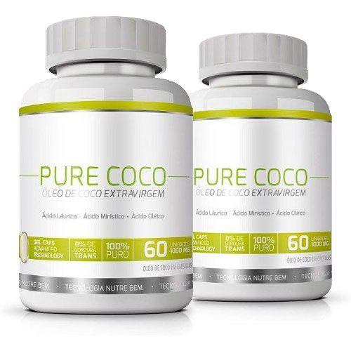 Pure Coco|Óleo de Coco Extra Virgem 100% Puro|Emagrecedor - 02 Potes   - LA Nature