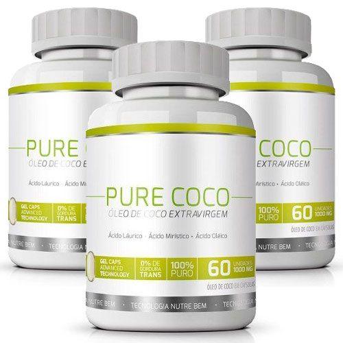 Óleo de Coco Extra Virgem 100% Puro - Pure Coco 1000mg - 3 Potes com 60 cáps cada