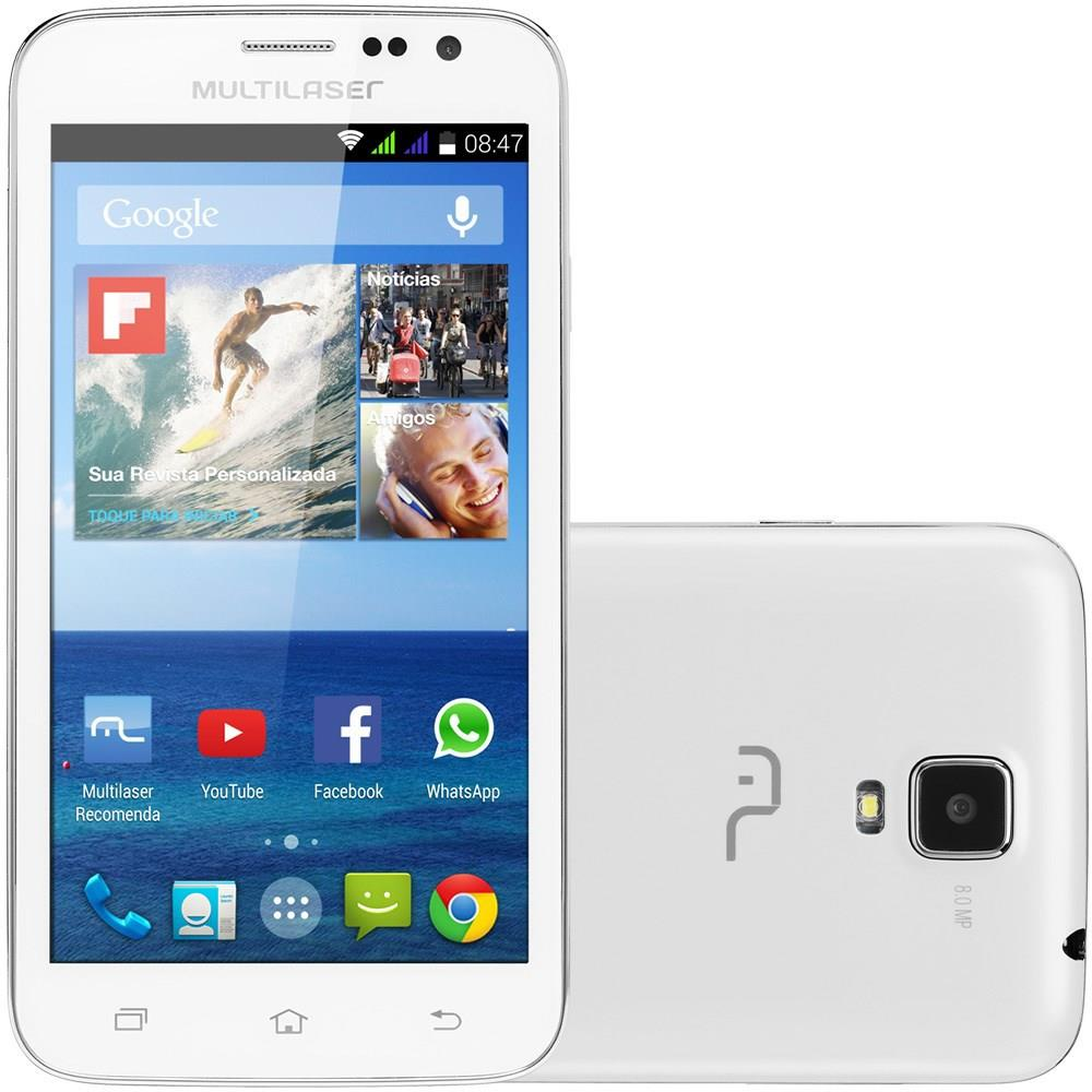 Smartphone Multilaser Msx Branco Com Tela De 5 Dual Chip Android 4.4 - P3305